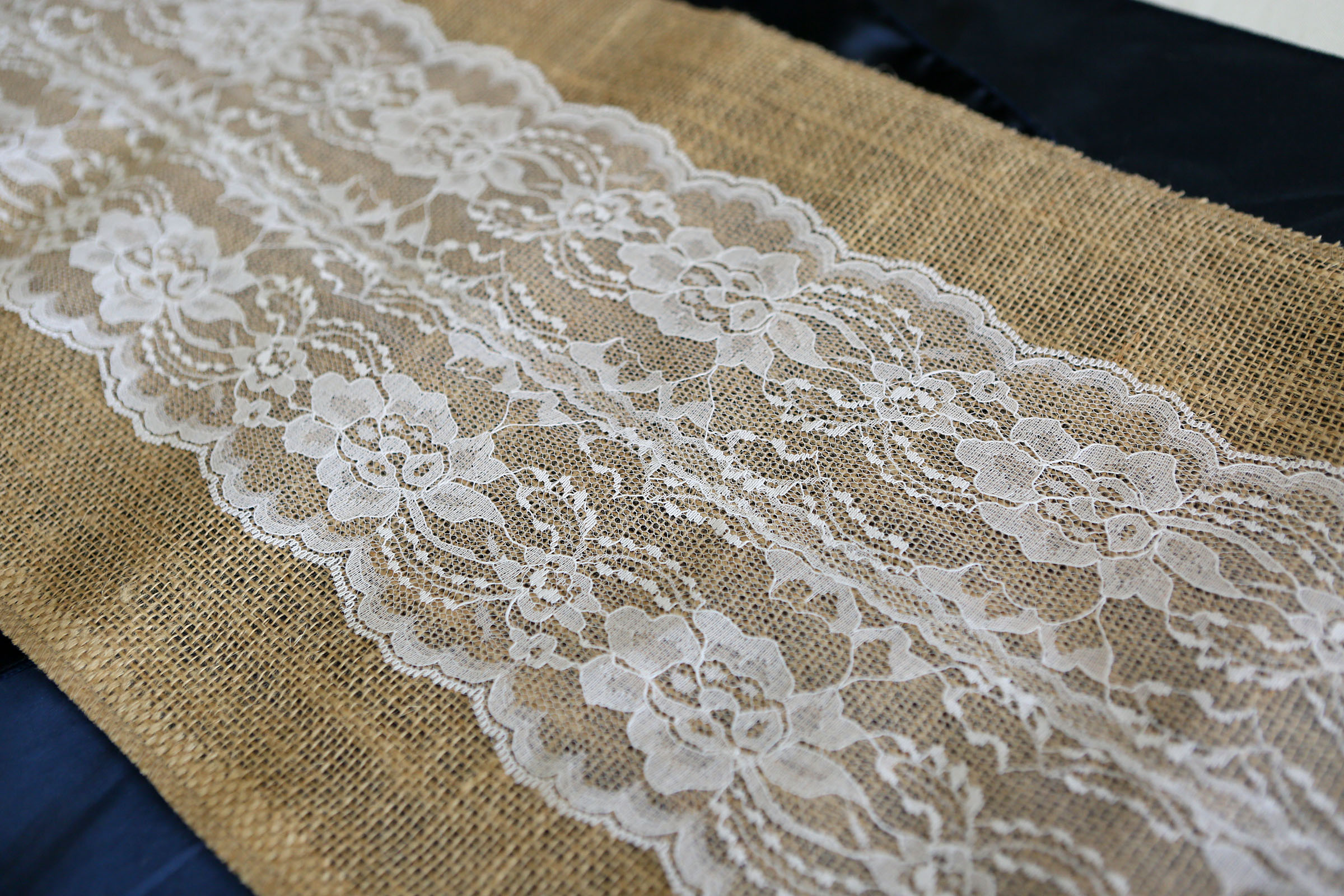 "Burlap and Lace Table Runner - White (12"" wide)"